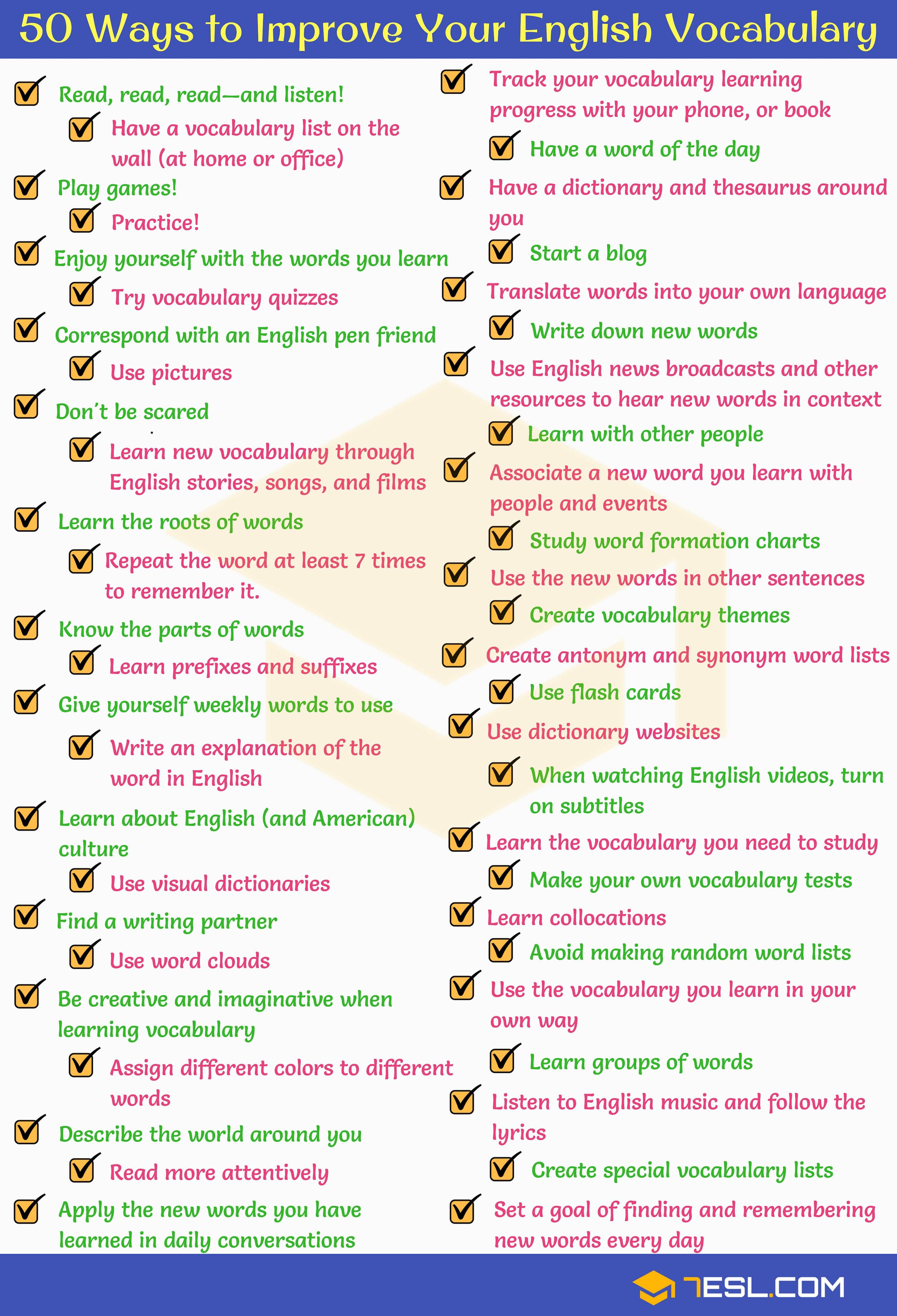 How To Improve Vocabulary 50 Simple Tips 7esl English Vocabulary Improve Your English Vocabulary [ 4400 x 3000 Pixel ]