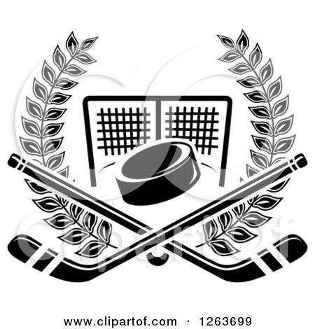 Clipart Of A Black And White Hockey Puck And Crossed Sticks Over A Goal Net In A Laurel Wreath Royalty Free Vector Illustra Hockey Tattoo Stick Tattoo Hockey