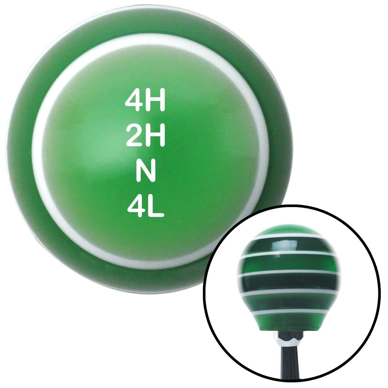 White Shift Pattern 33n Green Stripe Shift Knob with M16 x 15 Insert