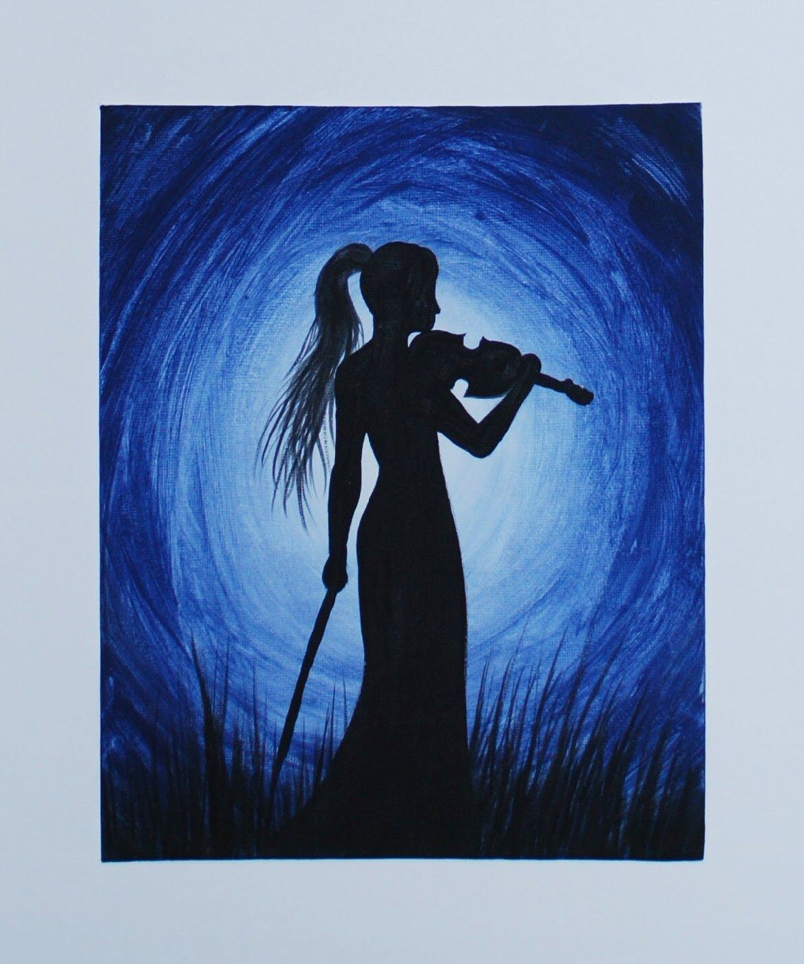 Acrylic Silhouette Painting On Canvas Board In This Violinist Silhouette Painting I Used Nav Silhouette Painting Music Painting Canvas Acrylic Painting Canvas