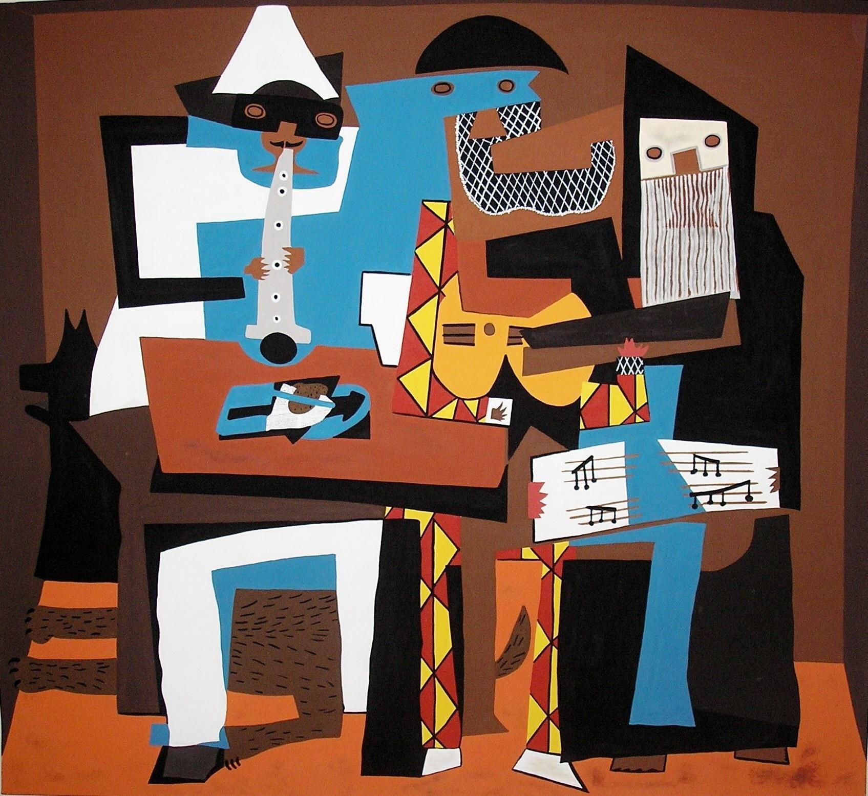 Pablo Picasso Spanish Synthetic Cubism 1881 1973 Three Musicians 1921 Oil On Canvas 6 7 X 7 3 3 4 200 7 X 222 9 Picasso Art Pablo Picasso Picasso
