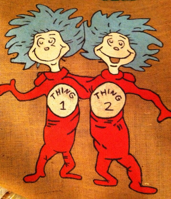 Thing 1 Thing 2 Burlap Door Hanger by OnevaKindDeltaDesign on Etsy https://www.etsy.com/listing/174651339/thing-1-thing-2-burlap-door-hanger