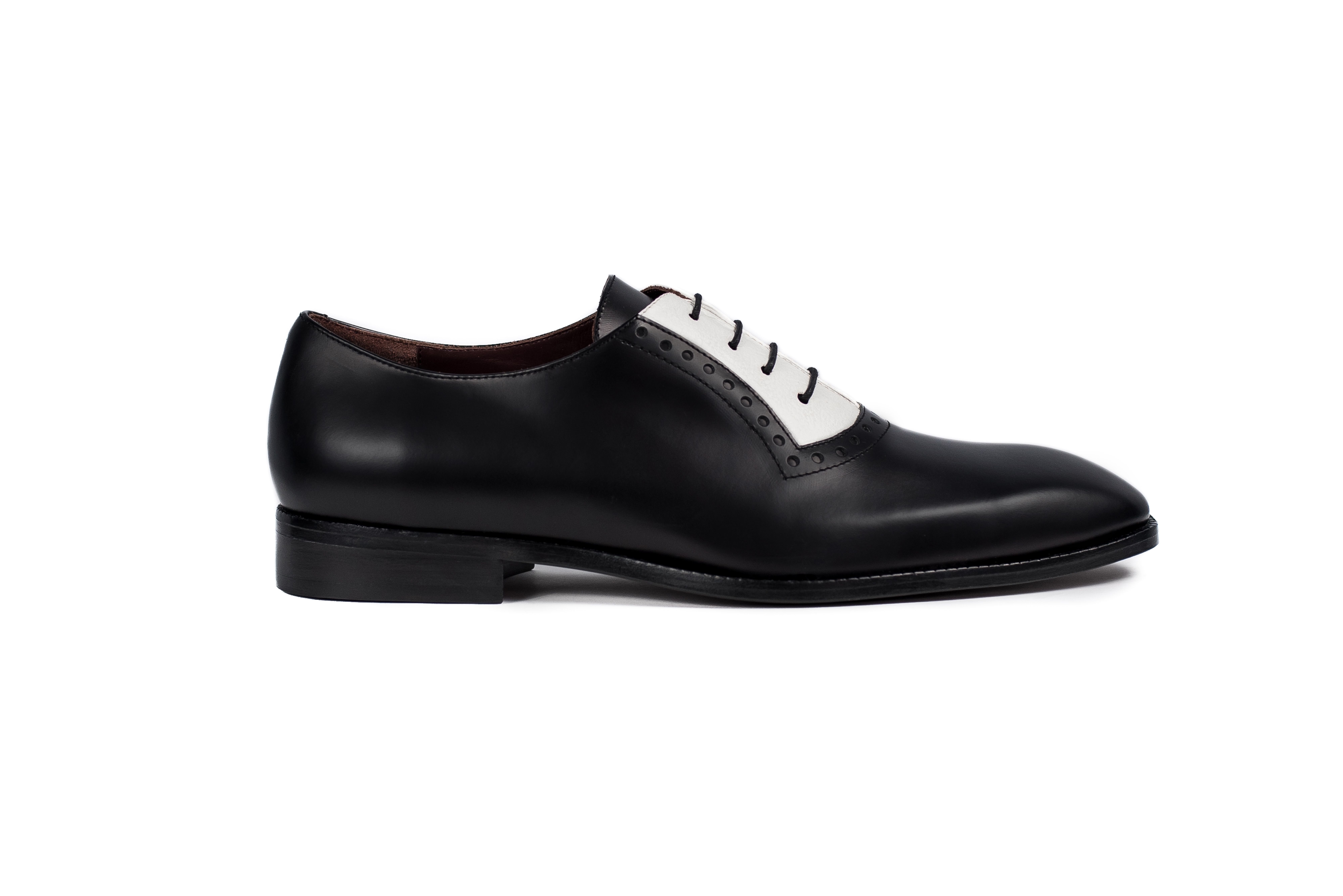 cbf0f9e3684 Handmade Derby Two Tone Leather Black   white Men leather interior lining  Soft Calf Leather Lining inside Color Burgundy Black One peace leather Sole.