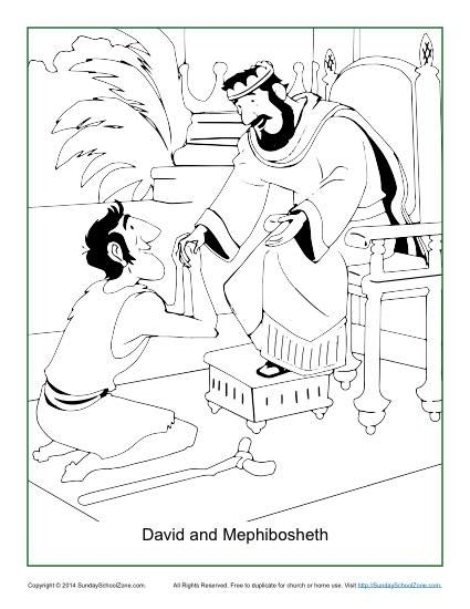 David And Mephibosheth Coloring Page Toddler Sunday School