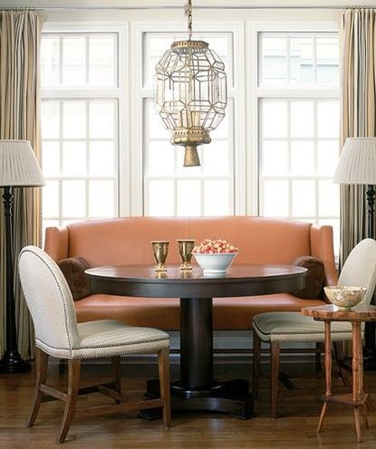 Marvelous Color Of Settee. Settee Paired With A Round Dining Table