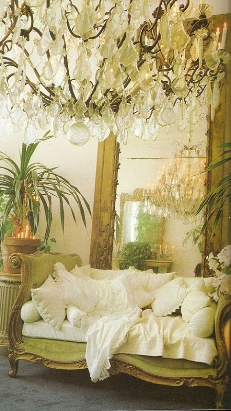 .  PUT Pillows all over my day bed like this and move to dressing room off upstairs hall with big mirror from guest room. Paint mirror as well.
