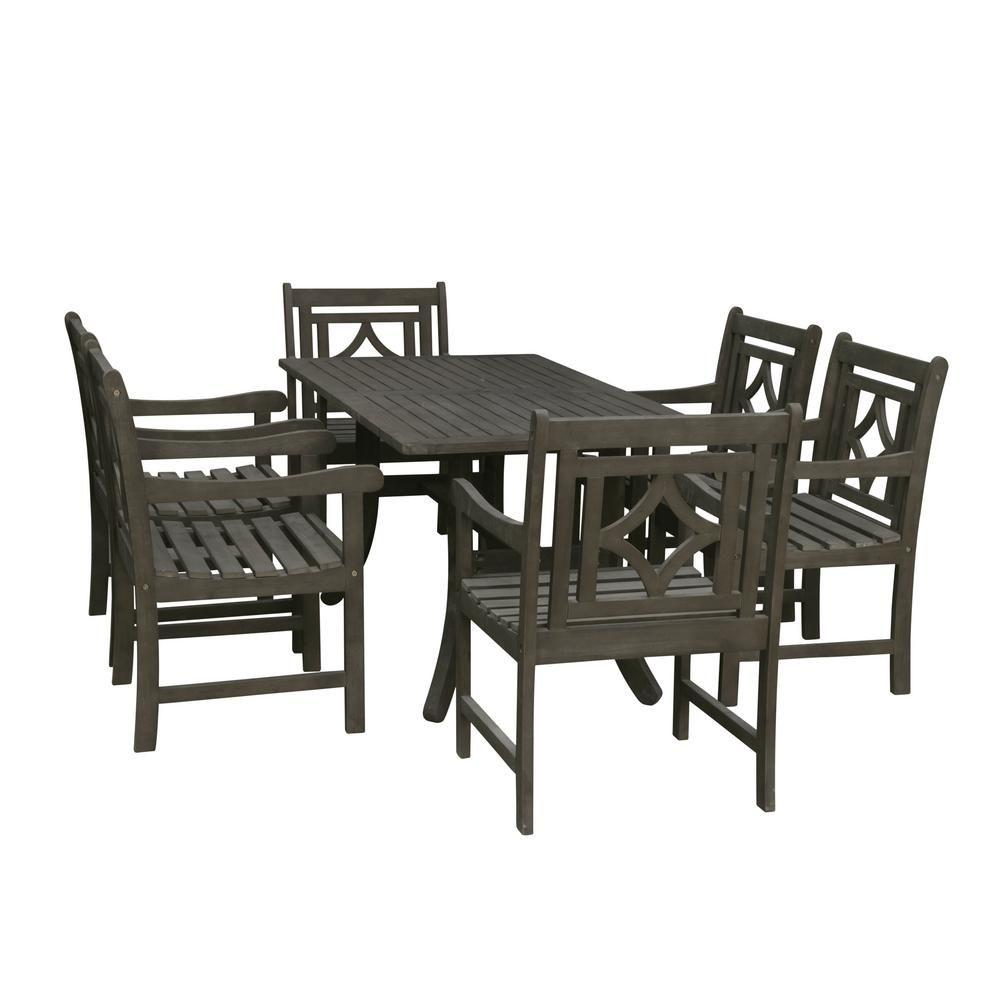 Vifah Renaissance 7 Piece Wood Outdoor Dining Set Outdoor Dining Set Patio Dining Set Wood Patio
