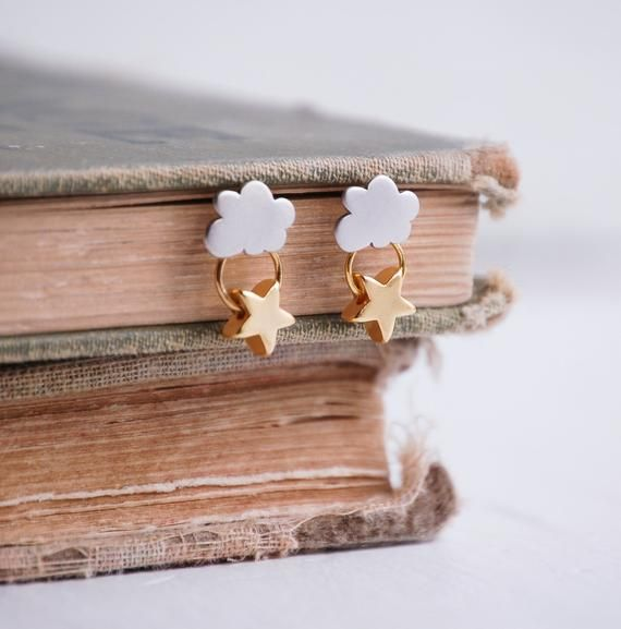 Items similar to Every CLOUD has a SILVER Lining EARRINGS Gold Star Silver Cloud Seattle Rain on Etsy