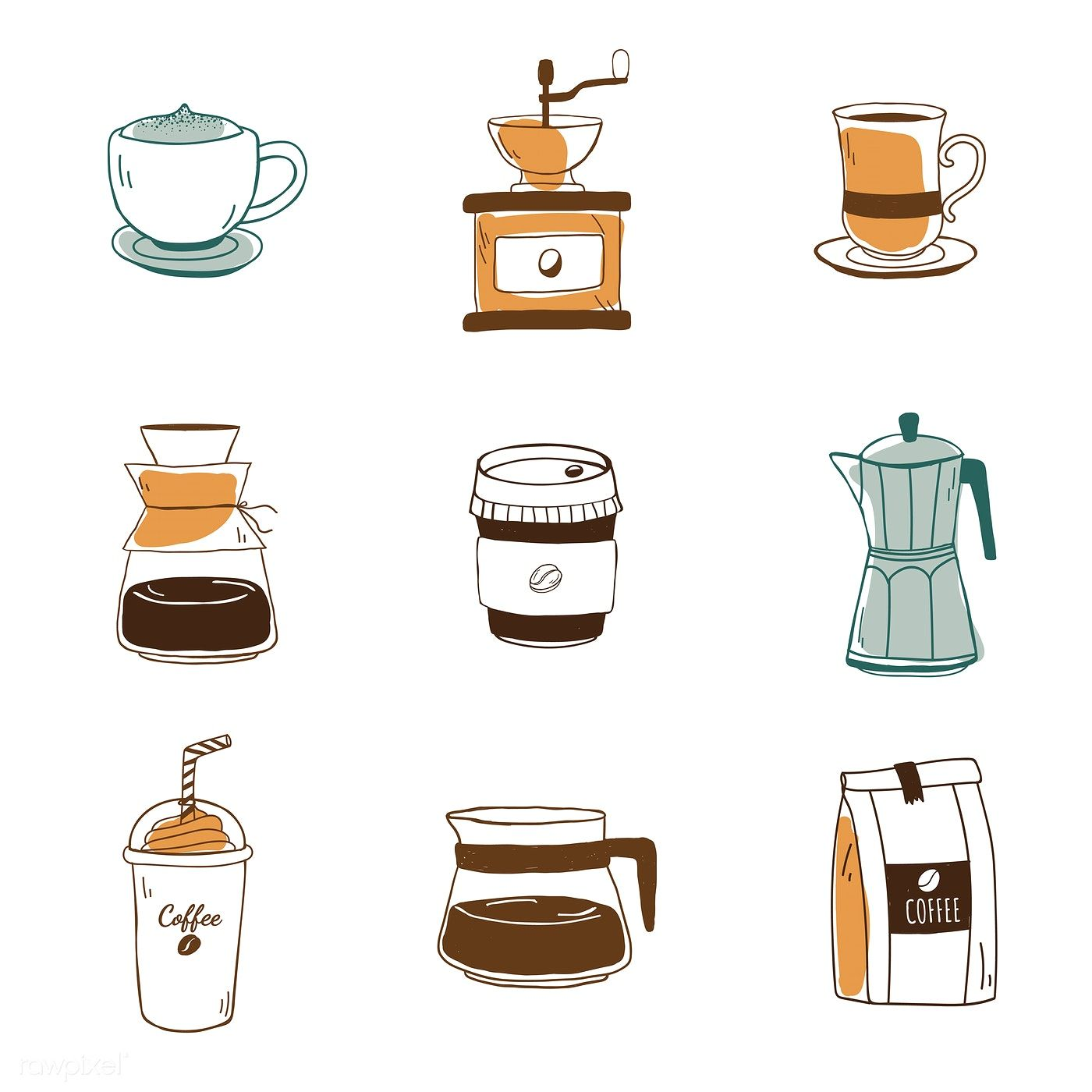 Set of coffee shop icons vector free image by rawpixel