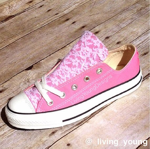 9d7dee48524 Lace Converse Shoes Low rise   Beach Converse   Wedding converse    customised converse   delicate   romantic