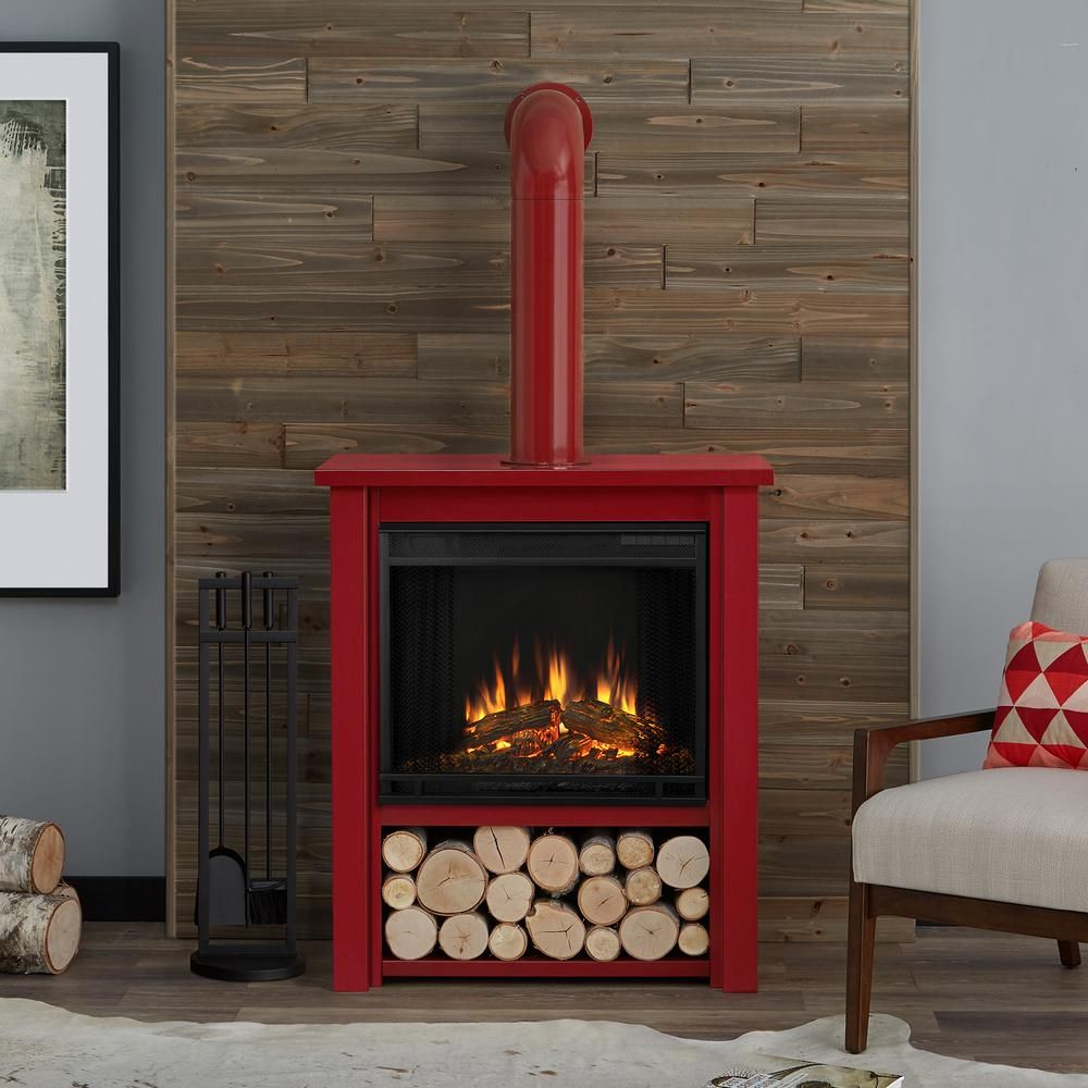 Real Flame Hollis 32 In Freestanding Electric Fireplace In Red Indoor Electric Fireplace Portable Fireplace Electric Fireplace