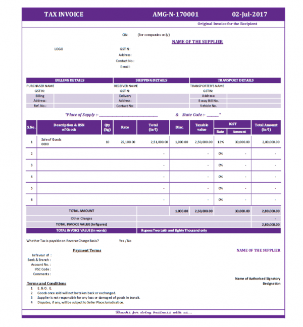 Format Of TAX INVOICE Under GST Regime For InterState National - Microsoft excel invoice template free nintendo online store