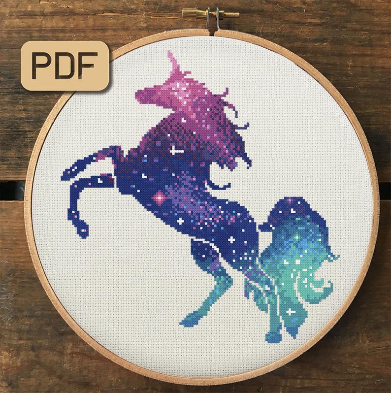 DIY Chart Counted Cross Stitch Patterns Needlework DMC Color Fantasy Unicorn