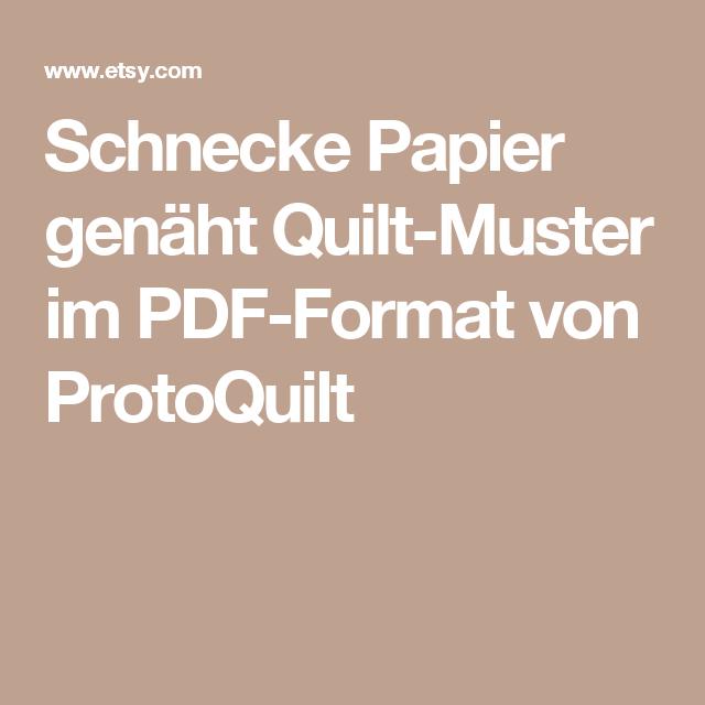 Schnecke Papier genäht Quilt-Muster im PDF-Format von ProtoQuilt