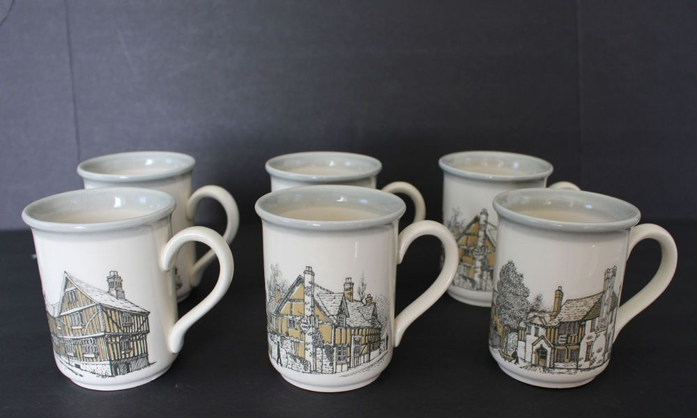 Biltons England Mugs Set of 6 Coffee Cups Gray Cream Coloroll ...