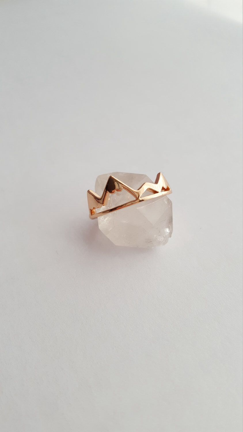 Rose Gold Mountain Ring Mountain Jewelry Nature Jewelry Dainty
