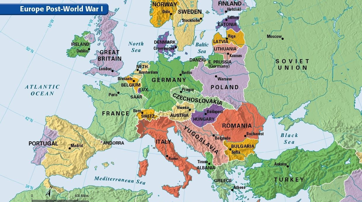 Europe Post World War I | maps | Pinterest | European map