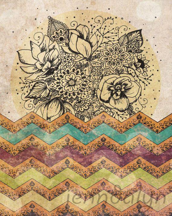 Bohemian Wall Art bohemian art, mixed media art, fine art print, illustration print