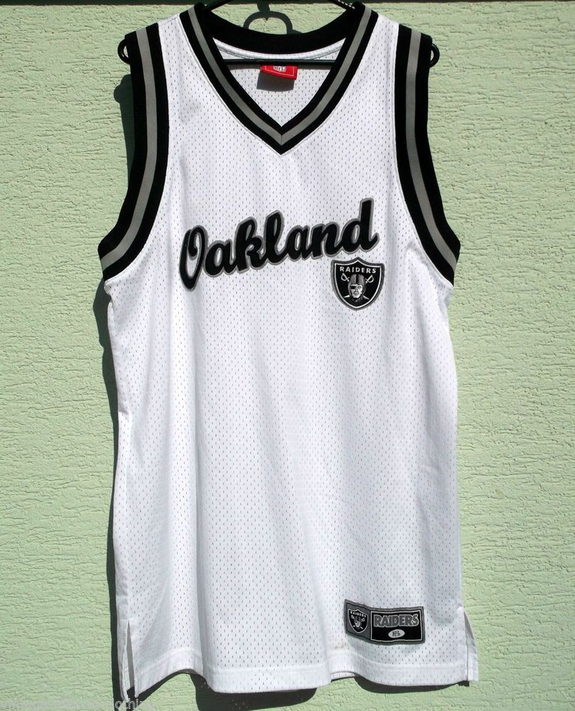 d224ad873e3 NFL Oakland RAIDERS Shirt Basketball vest L - XL white RARE | NFL ...
