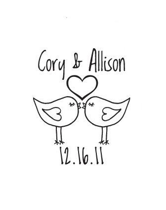 Custom Wedding Rubber Stamp Personalized Birds In