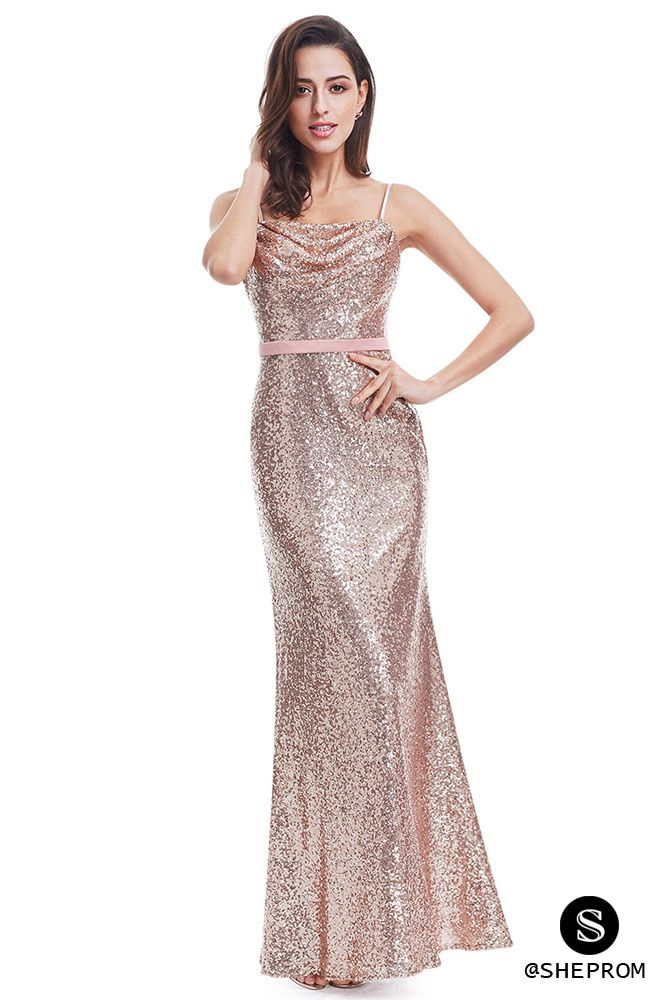 Sparkly Rose Gold Sequin Long Evening Party Dress - $71 #EP07087RG ...