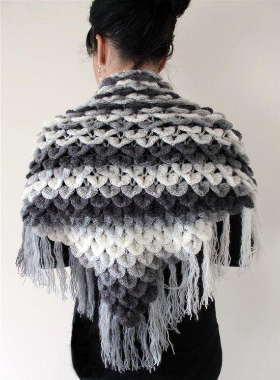 Crochet Pattern Crocodile Dragon Stitch Triangle Shawl Permission