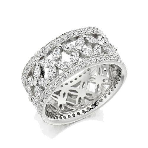 Raphael Platinum & 2.80ct Marquise & Round Cut Diamond Wedding Ring