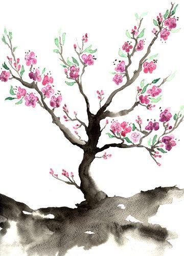 Sakura Tree Art Print Cherry Blossom Nature Sumi E Painting Etsy Blossoms Art Cherry Blossom Art Sakura Tree