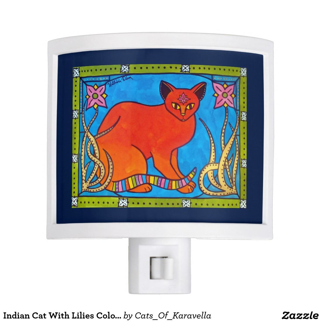 Lovely ginger cat with bindi and pink flowers night light ginger cats indian cat with lilies colorful cat design night light cat art by dora hathazi mendes izmirmasajfo