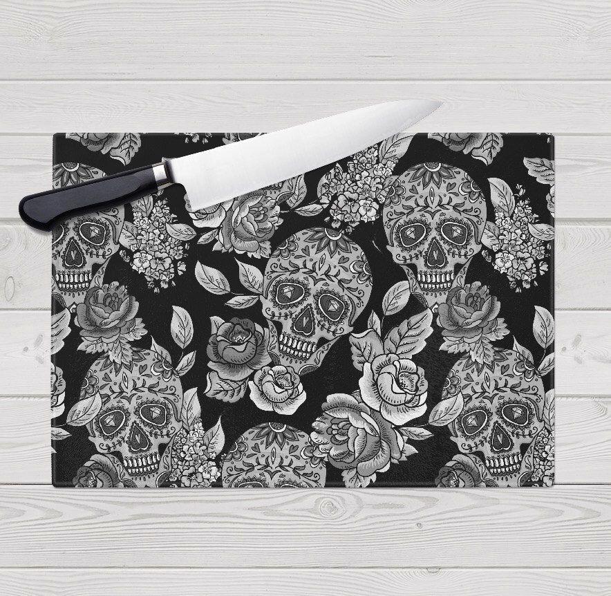 Glass Cutting Board, Sugar Skull Design by InkandRags on Etsy https://www.etsy.com/listing/226094319/glass-cutting-board-sugar-skull-design