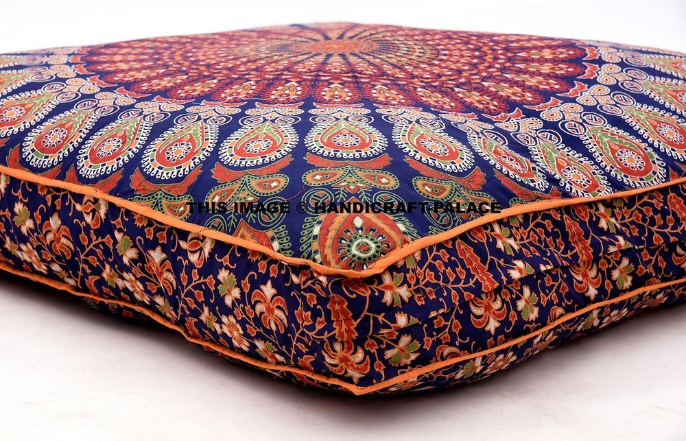 Mandala Peacock Feather Printed Floor Pillow Bohemian Throw Large Dog Bed Cover
