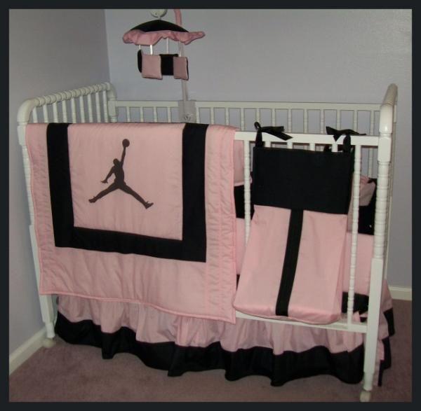 michael jordan pink black crib bedding