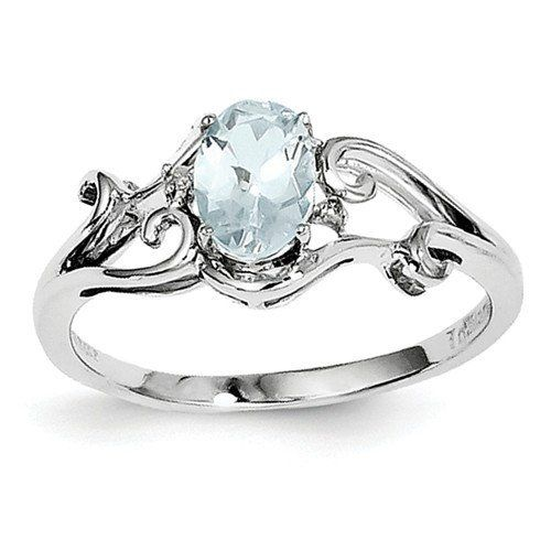 Sterling Silver Genuine Aquamarine Oval Diamond Ring Sterling