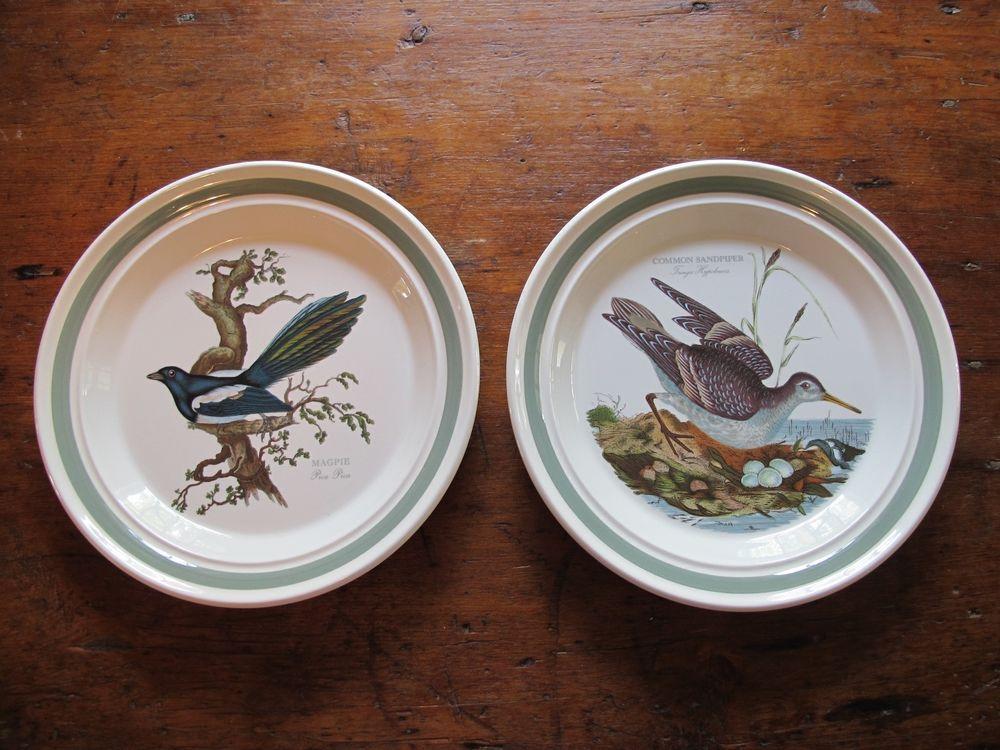 2 Never Used Portmeirion 10.5\  Bird Dinner Plates -- Magpie and Common Sandpiper & 2 Never Used Portmeirion 10.5\