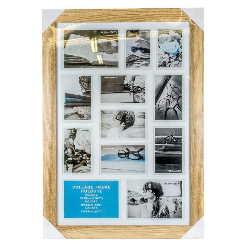 40x60 Cm Ash Wood Collage Photo Frame 12 Openings Multi Aperture