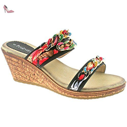 Ladies Boulevard Toe Loop Multi Coloured Fabric Link Slip On Sandals L9527bg Kd-Uk 4 (eu 37) Wrys7PXk