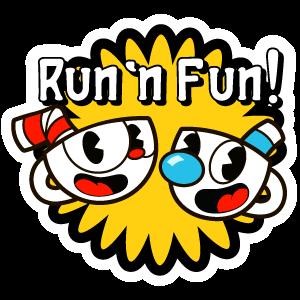 Cuphead And Mugman Run N Fun Sticker Fun Stickers Stickers Stickers Stickers