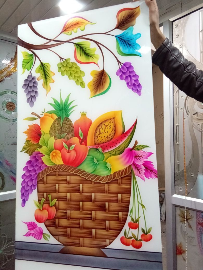 Fruits Design For Lacquered Glass Glass Painting Designs Door Glass Design Glass Etching Designs