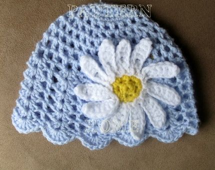 Pdf Crochet Pattern Daisy Beanie For Toddler Crochet Pinterest