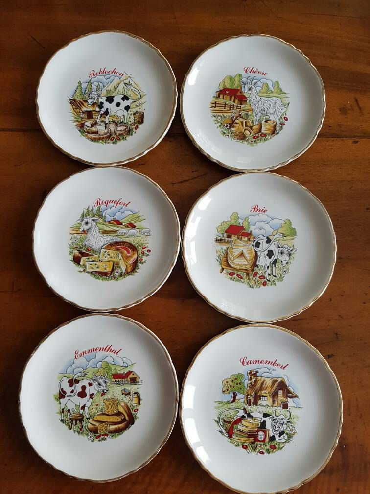 Moulin Des Loups Orchies 6 Assiettes A Fromage Differentes Vintage