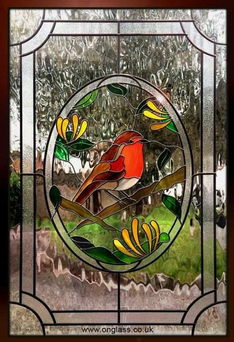 Robin Red T Stained Glass Double Glazed Door Panel Birds And