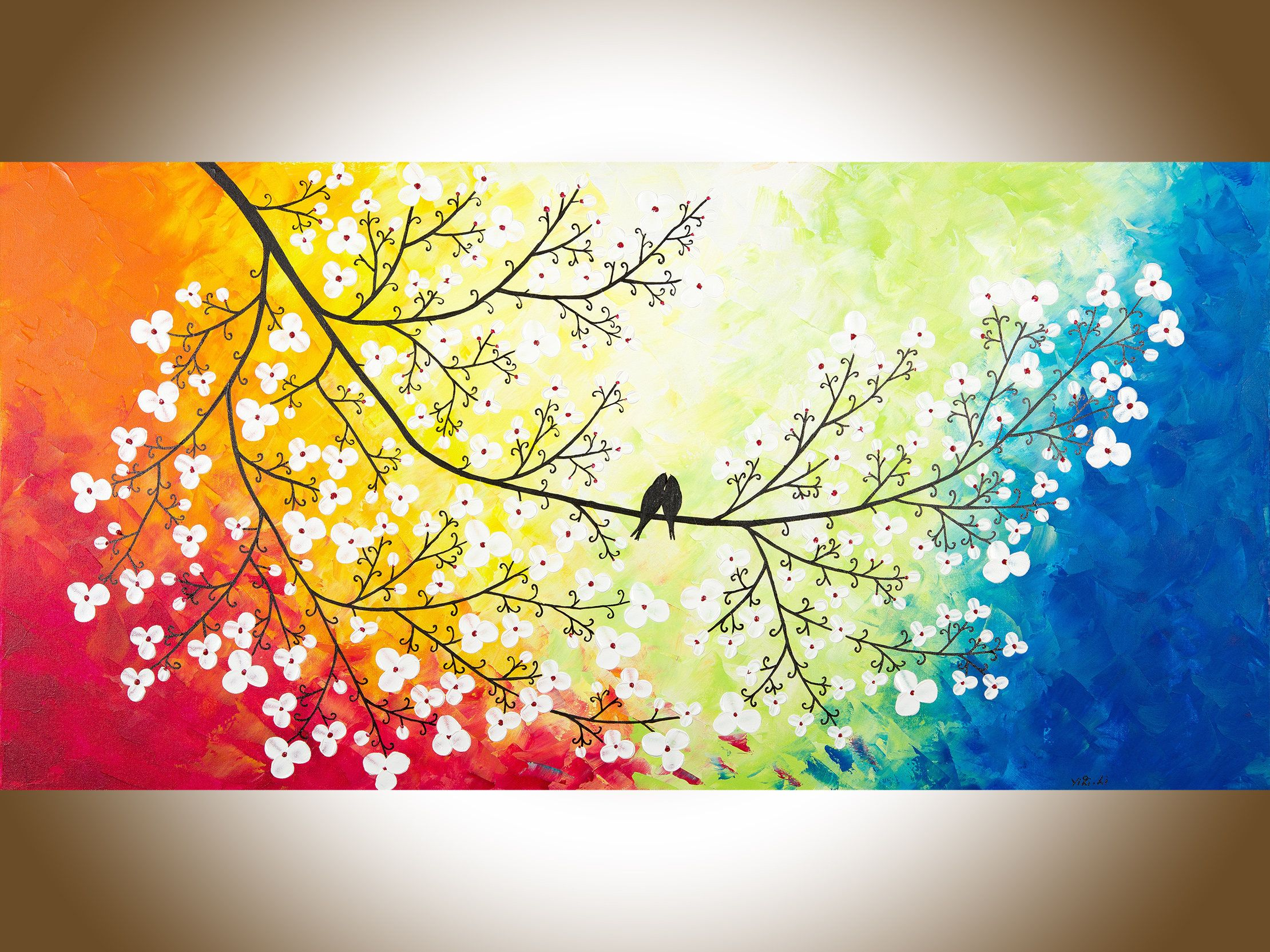 Birds art love birds painting large canvas art red yellow orange ...