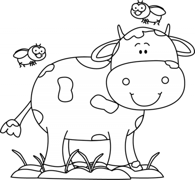 Free Cute Cow Clipart Cow Clipart Farm Animal Coloring Pages Black And White Cartoon