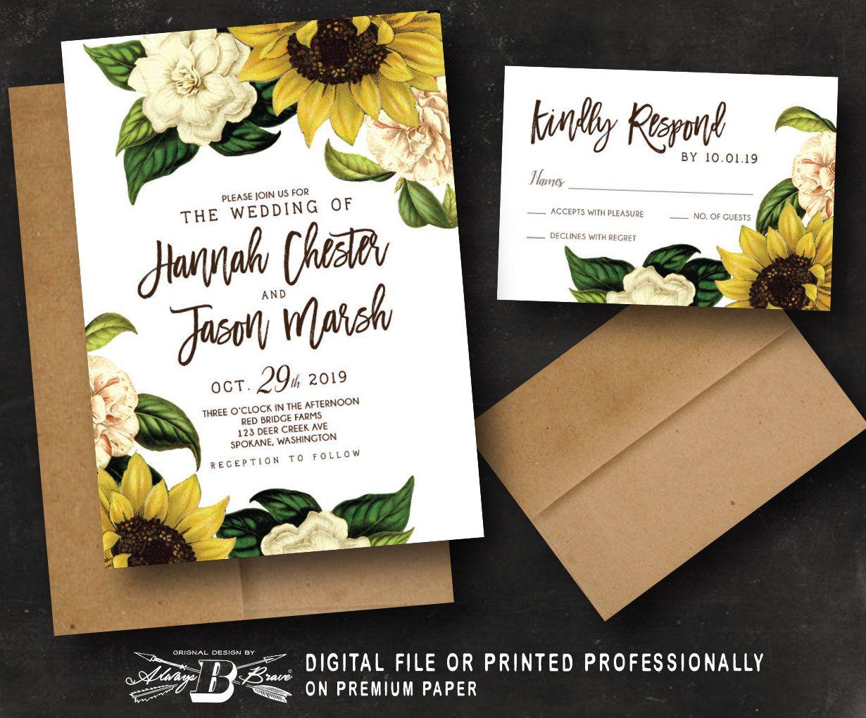 Sunflower Wedding Invitation & RSVP Rustic Vintage