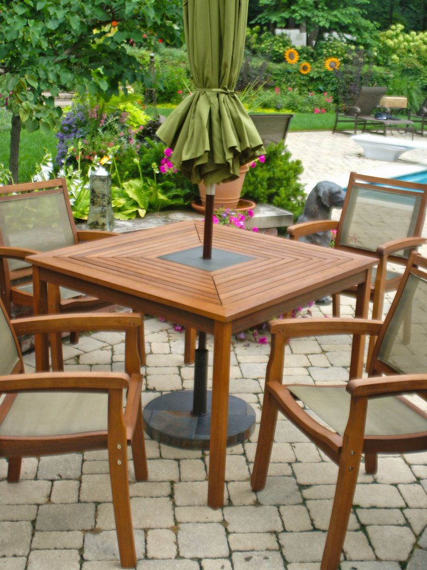 Square Patio Table 4 Chairs Granite Inlay Wood Outdoor Dining Set