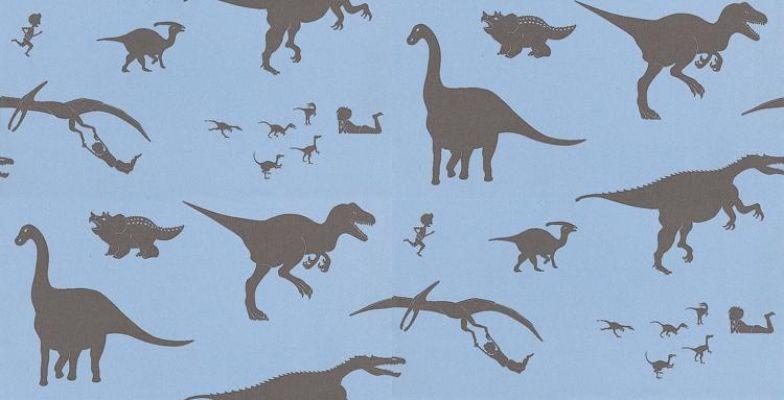 D 39 ya think e saurus by paperboy blue brown dtes blue kids dinosaur wallpaper kids - Paperboy dinosaur wallpaper ...