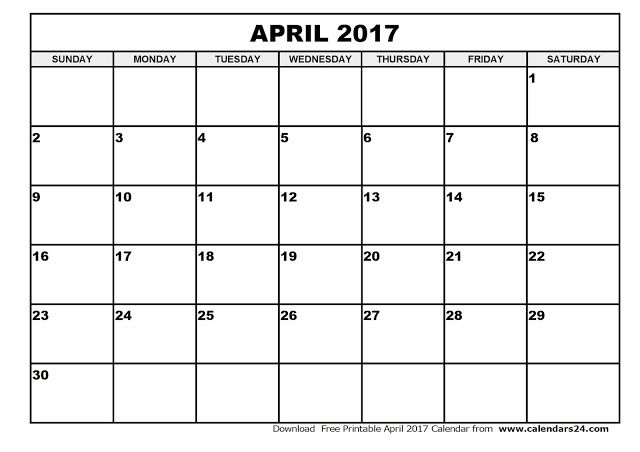 April 2017 Calendar, 2017 Calendar. Calendar 2017, Monthly