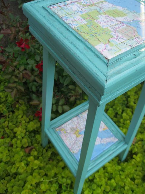 Paint, Map and decoupage- brilliant. The before and after is crazy.