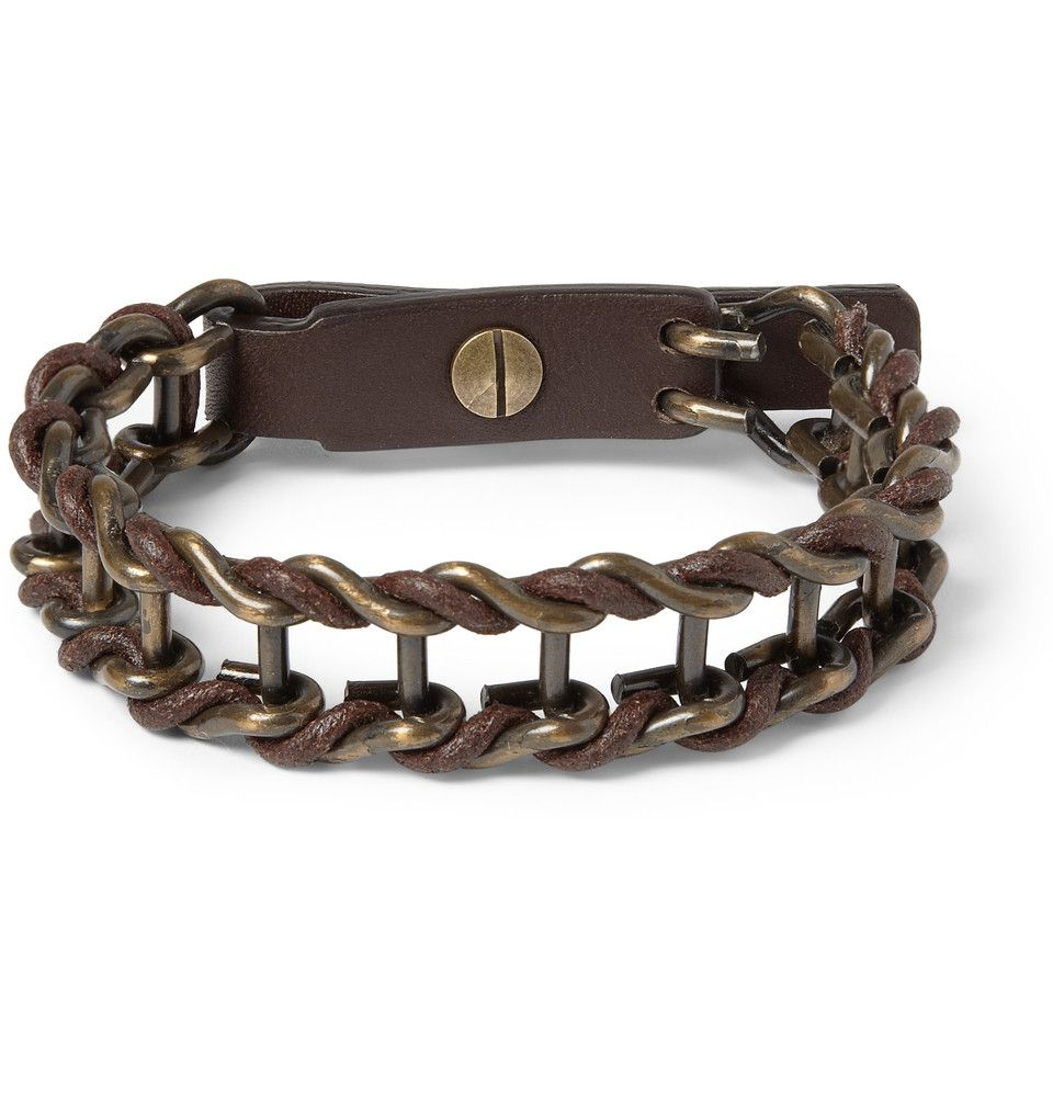 Lanvin Leather And Burnished Metal Bracelet Mr Porter