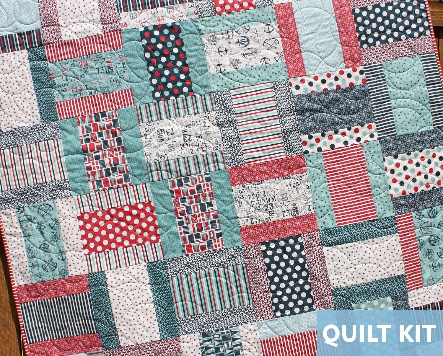 Nautical Quilt Kit, Lap Quilt Kit, The Boat House, Layer Cake Kit ... : quilt kits for beginners - Adamdwight.com